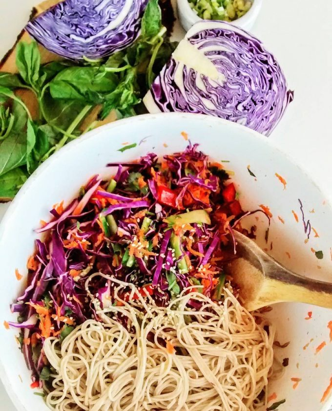 cabbage and soba noodles