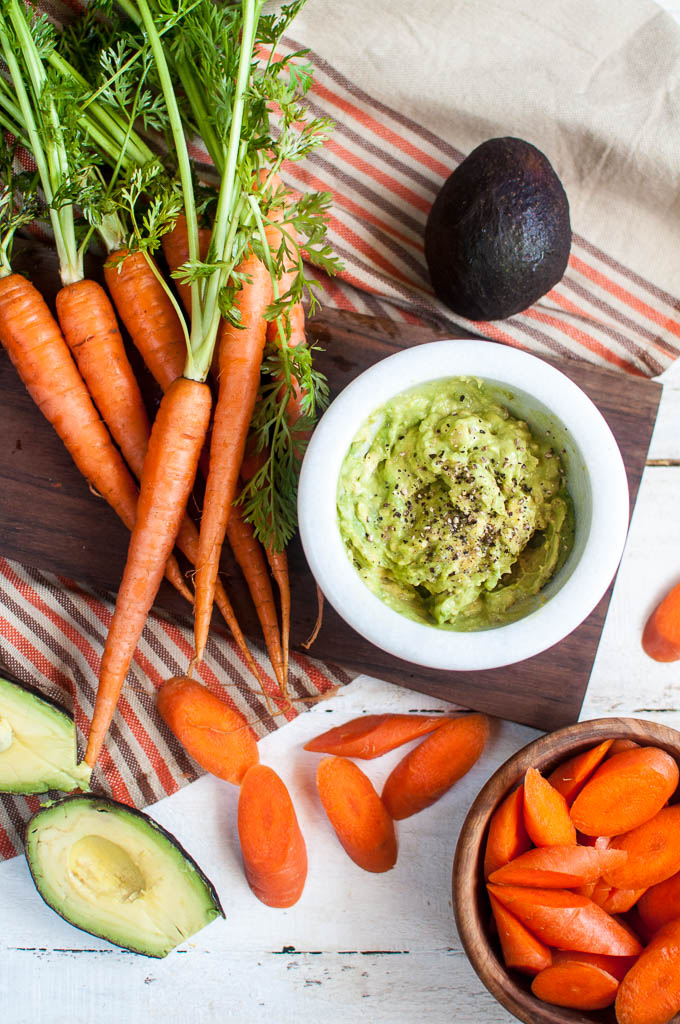 guac with carrots