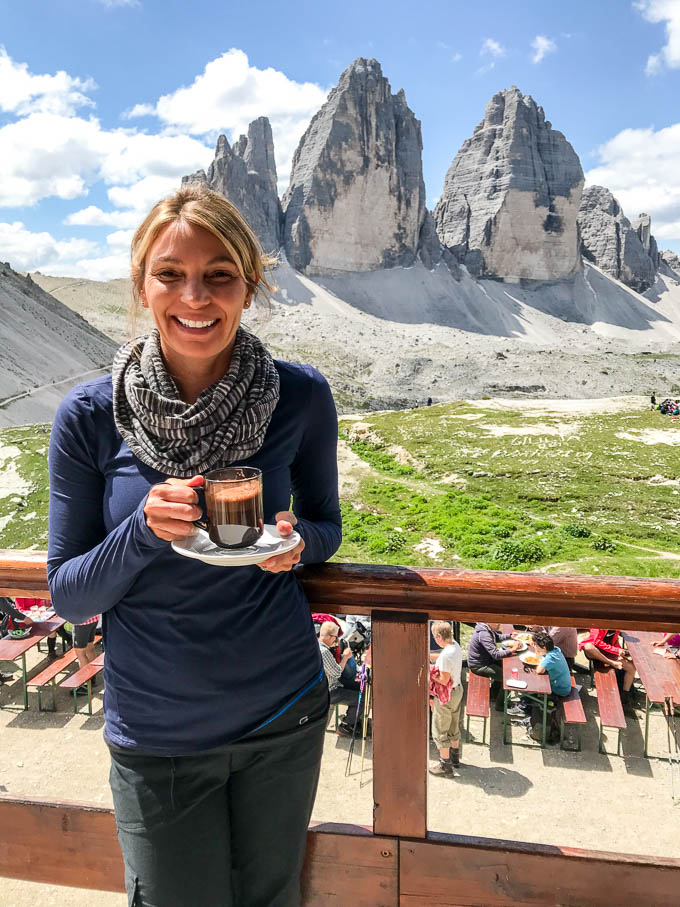 hot chocolate in the Dolomites